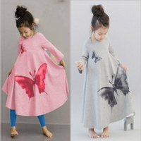 american printing ink - 2016 Autumn Korean Style Girls Dresses New Ink Wash Butterfly Washing Printed Long Sleeve Wide Hemline Vintage Kids Party Dresses MC0131