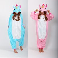 Wholesale new Blue And Pink Unicorn Onesies Pijama Winter Sleepwear Pegasus Animal Pajamas mascot