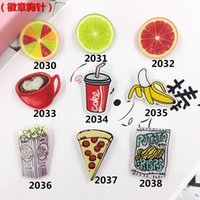 Wholesale Min Order Mix Order Jewelry Acrylic HARAJUKU Badge cartoon creative brooch banana lemon pizza Collar Tips Enamel Broche ab78