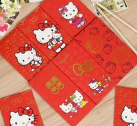 Wholesale Paper Festive Red Envelopes Cute Lovely Cartoon Hello Kitty For Money And Gifts Wedding H0620