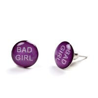 bad earrings - 2016 New Arrival Pairs Hot Selling Popular Unisex Fashionable Letter Bad Girl Stud Earrings Plugs Jewelry