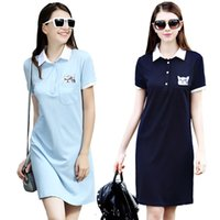 adult baseball uniforms - Casual ladies polo t shirt dress summer short sleeve polo dress shirts for women baseball uniform dress