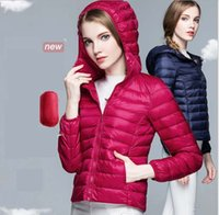 Wholesale Women Down Coats Ultra light Sport White Duck Down Jackets Plus Size Hooded Down Jacket Slim Thin Portable Outerwear Autumn Winter High Qual