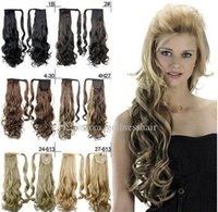 Wholesale Pony Tails ponytails hair pieces quot Synthetic Hair Long Curly Clip In Ribbon wrap Hair Extensions curly Hairpiece Fake Hair