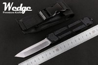 aluminum collection - WEDGE NEW MICROTECH Scarab Tanto Single Single Full edge Sanding Aluminum knife Survival Gear Camping Tools Collection Gift Tools Knives