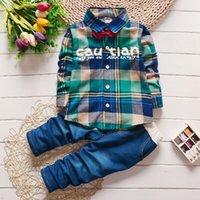 bag shirt - Kids autumn paragraph Korean male bag plaid shirt children s clothing children suit quality assurance