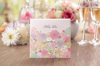 Wholesale Custom personalized square colorful flowers Wishmade wedding invitation CW5031 with envelopes seals personalized printing for wedding