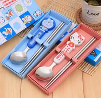 Wholesale Stainless steel spoon chopsticks tableware gifts cute cartoon children s sets tableware cartoon spoon gifts