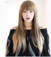 Wholesale 2016 HOT New Harajuku Lolita Wig Brown Blonde Ombre Wig Cosplay Long Straight Hair Cheap Heat Resistant Synthetic Wigs Perruque