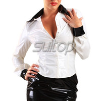 Wholesale Women s latex shirts for adult office lady rubber shirt SUITOP top