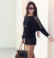 Wholesale New Product Women Plus Size Dolman Sleeve Bud Silk Sexy Joining Together Long Sleeve Knitting T shirt