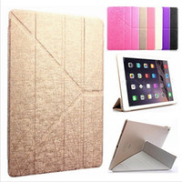 automatic covers - New Folding Stand Transformers Flip Silk leather Case Magnetic Smart Cover with Automatic Sleep Wake up for iPad Mini Air Air2