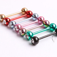 bar gauge - Mix PC Gauge Tongue Nipple bars barbell Ring Women s Colorful Rhinestone Piercing L Surgical Steel Body Jewelry For Men s Punk