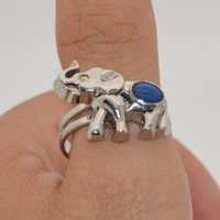 Wholesale hot cute elephant mood rings creative couple temperature change color ring adjustable ring