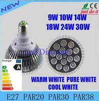 Wholesale DHL Not Dimmable Led bulb par38 par30 par20 V W W W W W W E27 par LED Lighting Spot Lamp light downlight