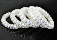 ab alloy hair - Big Size cm Hair Scrunchie AB White Telephone Wire Elastic Band Rope Hair Ring Spiral Rubber Band Hairband