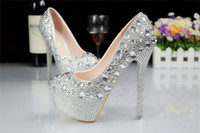 Acheter Chaussures simples talons-Chaussures Femmes Mode Chaussures Sexy Night Club Stiletto Talons Chaussures Chaussures Elegant Cuir Plain Party Chaussures chaussures de mariage de taille supplémentaire