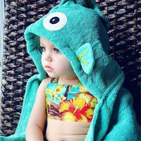 Wholesale Baby Bath Towel Hooded Kids Children Bathrobes Toddler Boy Bath Robes Kids Beach Towels Elephant Fish Baby Boys Girls Cotton Bath Towel