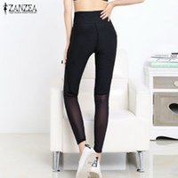 Wholesale Newest ZANZEA Women Leggings Sexy Skinny Mesh Patchwork Pants Elastic Waist Fitness Long Trousers Plus Size