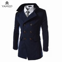 Wholesale 2016 fashion new men leisure long windbreaker dust coat Man s double breasted tweed trench coat