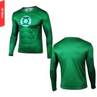 Precio de Camiseta para correr verde-Hombres-Venta al por mayor de la manera de Marvel cómics de superhéroes informal de manga larga camiseta de la linterna verde secado rápido Camiseta gimnasio de Crossfit Running