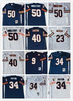 Wholesale Stitched Retro Mike Singletary Fuller WALTER Payton Gale Sayers Jim McMahon White Blue Throwback Jersey Shirts for Men