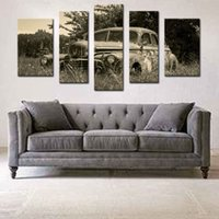 arts field - 5 Picture Combination Wall Art Old Car In Field In Rural Painting The Picture Print On Canvas Car Pictures For Home Decoration