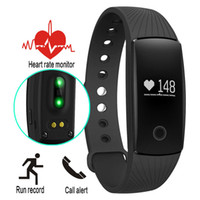 Wholesale ID107 Heart Rate Smart Bracelet Watch Heart Rate Monitor Smart Band Wireless Fitness Tracker Wristband for Android iOS