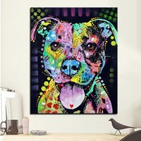 Wholesale Large size Print Oil Painting Wall painting cherish the pitbull Home Decorative Wall Art Picture Living Room paintng No Frame