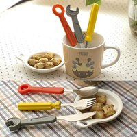 Wholesale Pack of Baby Feeding Wrench Screwdriver Shape Knife Fork Spoon Tableware Set FG091200