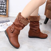 america cow - 2016 Europe and America new winter boots in the winter increase in tube in tube snow boots women boots plus velvet flat shoes women