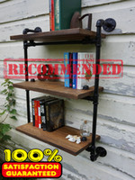 Wholesale American Old Industrial Wrought Iron Pipe Wall Shelving Racks Z8