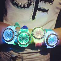 Wholesale LED light diamond watch fashion diamond watches silicone strap watch Geneva six color men s watch quartz female watch Christmas gifts