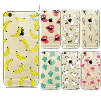 Cheap Banana Unicorn Sexy lips Clear Cover for iPhone 6s Case 6 5S 5 iPhone hood capinhas capa shell Soft Transparent Fashion Fruit