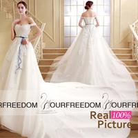 Wholesale SQS03 REAL IMAGE Saudi Arabic Off The Shoulder Wedding Dresses Full Lace Church Train Elegant Bridal Gown Cheap