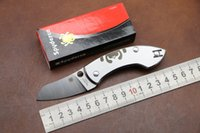 ans camping - Good quality spyderco Vox Ans blade folding knife cr13mov outdoor steel Handle Camping Pocket KnifeEDC tool