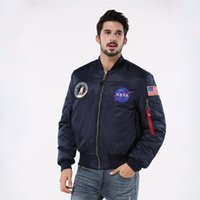 american flying jackets - Hot Sale Winter Thick NASA Navy flying jacket Thick Winter letterman varsity american college bomber flight jacket for men