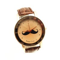 beards band - PVC leather band gold plate case beard imprint dial quartz movement gerryda fashion woman lady cartoon leather watches