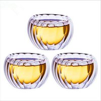 Wholesale Pumpkin Shaped stripe glass bistratal clear cup tea cup teacup heat insulation glass cup