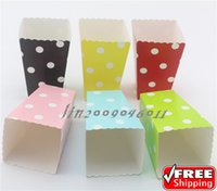 baby shower bulk - 720pcs Free DHL Mixed Colors Popcorn Boxes Bulk Blue Pink Black Green Red Yellow Polka Dot Wedding Birthday Party Baby Shower