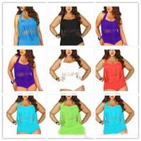 best plus size swimsuits - best selling Newest Summer Plus Size Tassels Bikinis High Waist Sexy Women Bikini Swimwear Padded Boho Fringe Swimsuit
