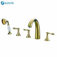 bathtub faucet diverter - AZOS Bathtub Faucets Golden Color Deck Mount Hot Cold Sprayer Showerheads Handles Diverter Valves YGWJ009