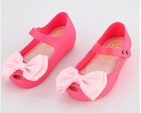 ankle bow shoes - 2016 Mini Melissa Same Style Jelly Shoes Toddler Princess Bow Sandals Children s Original Quality Soft Shoe