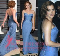 adams carpets - Amy Adams Blue Chiffon Sheath Prom Evening Dresses Golden Globes Mermaid Sweetheart Open Back Beaded Ruffled Party Celebrity Gowns