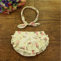Wholesale Baby Shorts Pants Ruffle Girls Bloomer headband Set Ruffled Cotton Kids Mid Waist Shorts Clothing for Summer