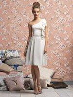 A-Line al caps - One shoulder Bridesmaid Dresses Elegant Knee length Bridesmaid Gowns Vestido Curto Al N5 Vestido De Festa