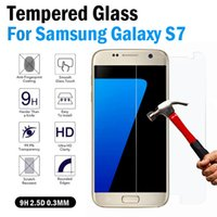 Wholesale 0 mm D LCD Clear Tempered Glass Screen Protector For samsung galaxy S7 S7 Edge Protective Film inch Inch Fress Shipping