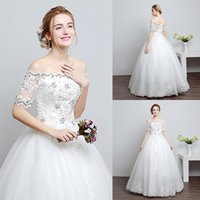 beachwedding dress - Vintage Bateau Off Shoulder BeachWedding Dress Beading Diamond Tulle Lace Floor Length Wedding Dresses Princess Bridal Gowns YL