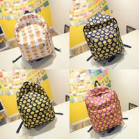 backpacks for teenage girls - Cartoon Smiley Emoji Printing Backpack canvas School Backpacks Mochila Shoulder Bags For Teenage Girls Boys shoulders bag DHL C377