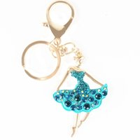 ballet dance bag - 2016 Hot Fashion Ballet Blue Dancing Girl Lady Pendant Charm Crystal Purse Bag Key Chain Gift